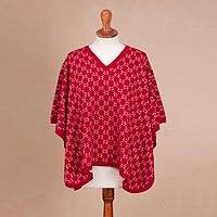 Reversible baby alpaca blend poncho, 'Peruvian Girl in Ruby' - Reversible Baby Alpaca Blend Poncho from Peru