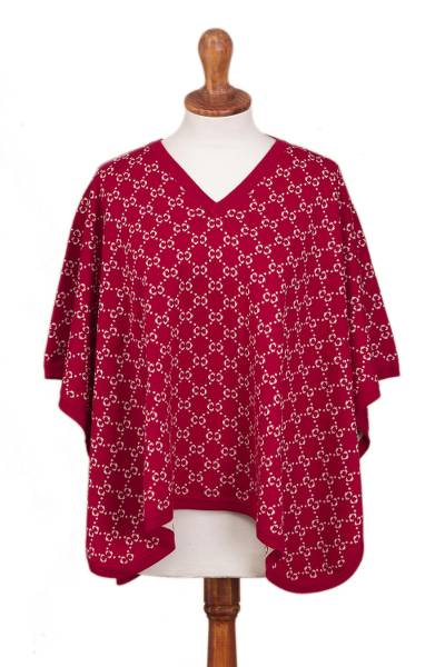 Reversible Baby Alpaca Blend Poncho from Peru