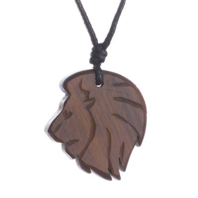 Hand-Carved Lion Wood Pendant Necklace from Peru