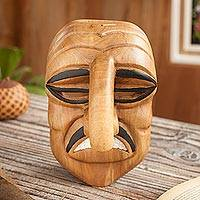 Wood mask, 'Huaconada Nose' - Handcrafted Huaconada Dance Wood Mask from Peru