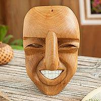 Wood mask, 'Huaconada Grin' - Grinning Huaconada Dance Wood Mask from Peru