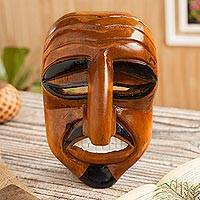 Wood mask, 'Dapper Huaconada' - Hand-Carved Huaconada Dance Wood Mask from Peru