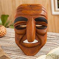 Wood mask, 'Huaconada Eyebrows' - Artisan Crafted Huaconada Dance Wood Mask from Peru