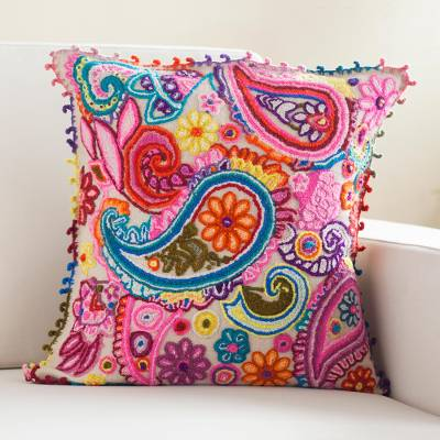 Wool cushion cover, 'Ayacucho Paisleys' - Colorful Paisley Wool Cushion Cover from Peru