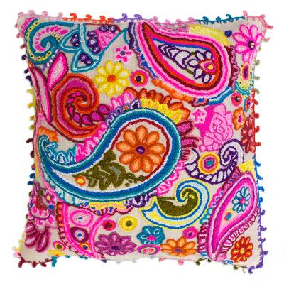 Colorful Paisley Wool Cushion Cover from Peru