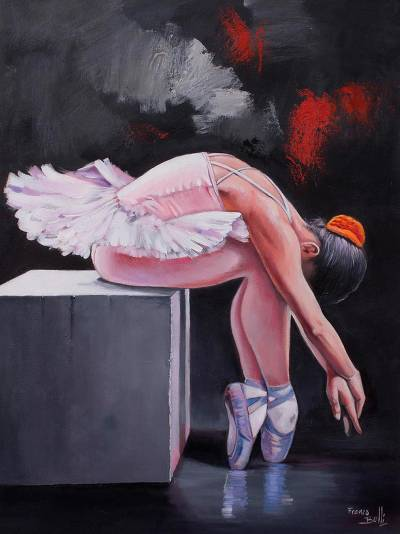'Ballerina' - Signed Realist Painting of a Ballerina from Peru