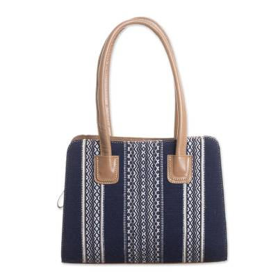 Handwoven Leather Accented Wool Blend Handle Handbag