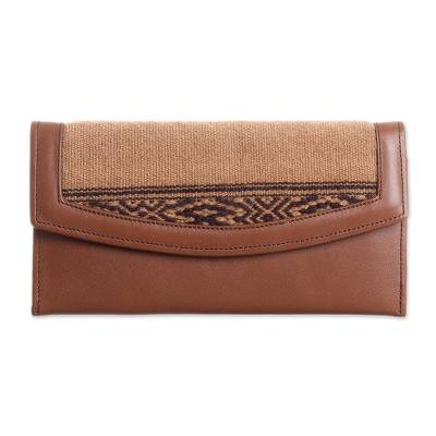 Alpaca Accented Leather Clutch in Coffee from Peru