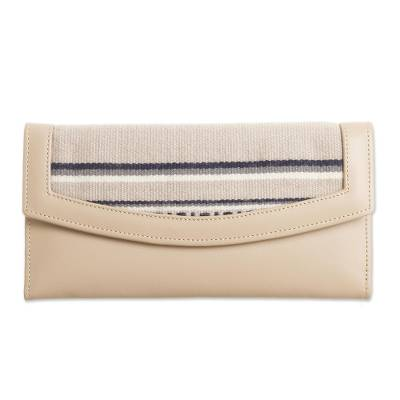 Alpaca Accented Leather Clutch in Ecru from Peru