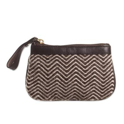 Brown Zigzag Motif Leather Accented Alpaca Blend Coin Purse