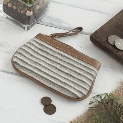 Leather accented alpaca blend coin purse, Elegant Stripes