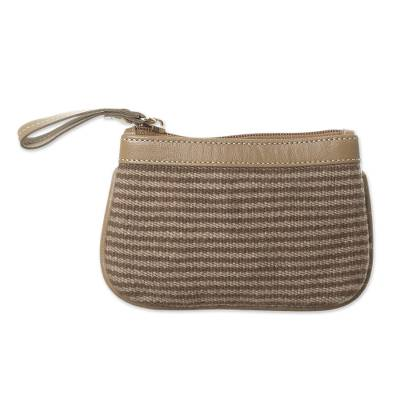 Sepia and Taupe Leather Accented Alpaca Blend Coin Purse
