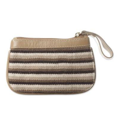 Striped Leather Accented Alpaca Blend Coin Purse