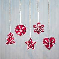 Embroidered ornaments, 'Peruvian Christmas in Crimson' (set of 5) - Embroidered Ornaments in Crimson from Peru (Set of 5)