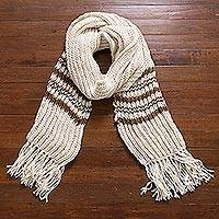 100% baby alpaca scarf, 'Cocoa Rivers' - 100% Baby Alpaca Antique White and Brown Hand Knit Scarf