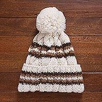 100% baby alpaca knit hat, 'Coffee Cloud'