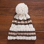 100% Baby Alpaca Antique White and Brown Hand Knit Hat, 'Coffee Cloud'
