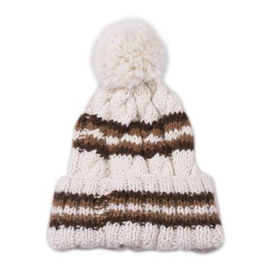 100% baby alpaca knit hat, 'Coffee Cloud' - 100% Baby Alpaca Antique White and Brown Hand Knit Hat