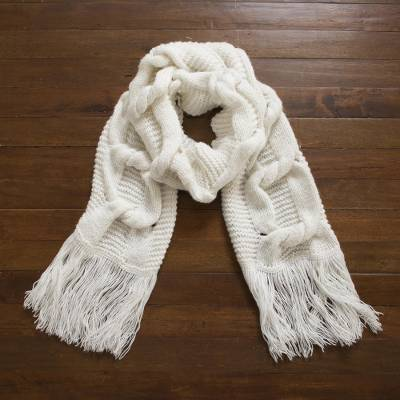 Snow White Cable Knot Pattern Alpaca Blend Hand Knit Scarf Twisted