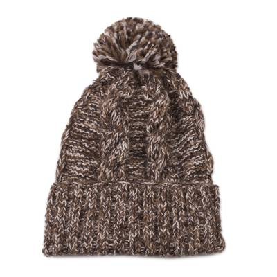 100% alpaca knit hat, 'Chocolate River' - Brown and White 100% Alpaca Hand Knit Cable Stitch Hat