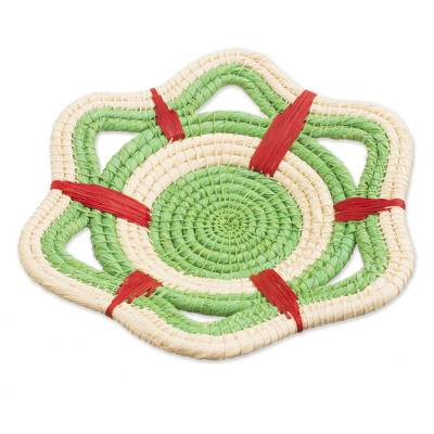 Chambira Tree Fiber Decorative Basket in Kiwi from Peru