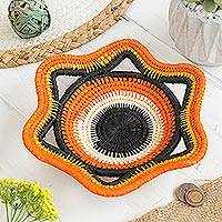 Chambira tree fiber decorative basket, 'Tangerine Star' - Chambira Tree Fiber Decorative Basket in Tangerine from Peru