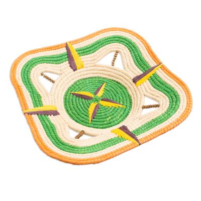 Chambira Tree Fiber and Wood Decorative Basket from Peru