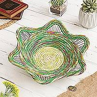 Chambira tree fiber decorative basket, 'Jungle Rainbow' - Rainbow-Hued Chambira Tree Fiber Decorative Basket from Peru