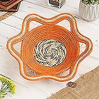 Chambira tree fiber decorative basket, 'Jungle Afternoon' - Chambira Tree Fiber Decorative Basket in Mandarin from Peru