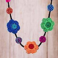 Hand-crocheted pendant necklace, 'Colorful Garland' - Hand-Crocheted Floral Pendant Necklace in Multicolor