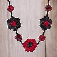 Hand-crocheted pendant necklace, 'Chili and Black Garland' - Hand-Crocheted Floral Pendant Necklace in Chili and Black