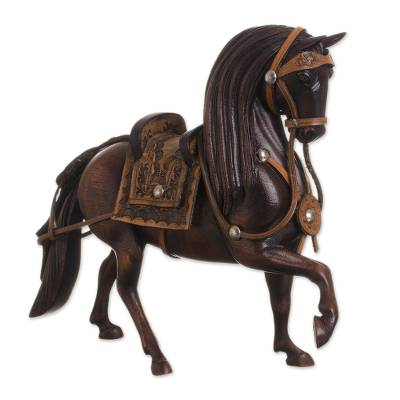 Leather Accented Wood Sculpture of a Peruvian Paso Horse
