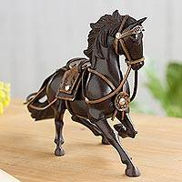 Leather accented wood sculpture, 'Galloping Paso Horse' - Leather Accented Caoba Wood Paso Horse Sculpture from Peru