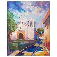 'Carmen Del Alto Church' - Impressionist Painting of Carmen Del Alto Church in Peru