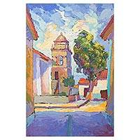 'Quinua Church' - Impressionist Painting of Quinua Church in Peru