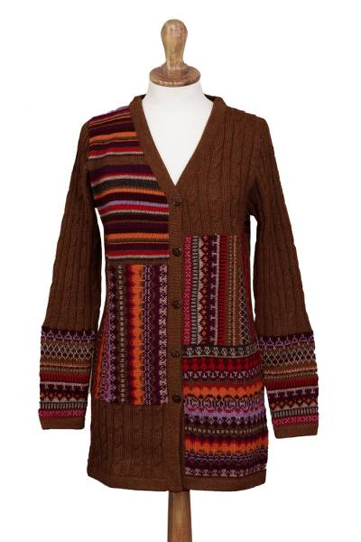 100% alpaca cardigan, 'Patchwork in Chestnut' - Cable Knit 100% Alpaca Cardigan in Chestnut from Peru