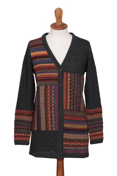 100% alpaca cardigan, 'Patchwork in Graphite' - Cable Knit 100% Alpaca Cardigan in Graphite from Peru