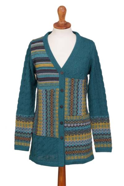 100% alpaca cardigan, 'Patchwork in Teal' - Cable Knit 100% Alpaca Cardigan in Teal from Peru