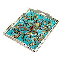 Reverse-painted glass tray, 'Mystic Flora' - Rectangular Reverse-Painted Glass Tray from Peru