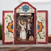 Wood and ceramic retablo, 'Calavera Wedding'