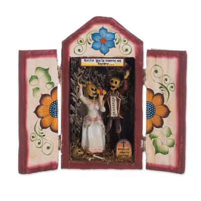 Wood and ceramic retablo, 'Calavera Wedding' - Wedding-Themed Wood and Ceramic Retablo from Peru