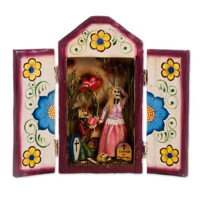 Wood and ceramic retablo, 'Ask for Her Hand' - Romantic Wood and Ceramic Retablo from Peru