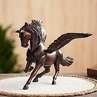 Cedar wood sculpture, 'Taking Flight' - Hand-Carved Cedar Wood Pegasus Sculpture from Peru