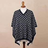 Reversible baby alpaca blend poncho, 'Peruvian Girl in Navy' - Navy Reversible Baby Alpaca Blend Poncho in Navy from Peru