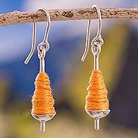 Sterling silver dangle earrings, 'Orange Spools' - Silver and Orange Cotton Dangle Earrings from Peru
