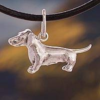 Silver pendant necklace, 'Cute Dachshund' - Silver Dachshund Pendant Necklace from Peru