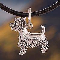 Silver pendant necklace, 'Cute Westie' - Silver and Leather Westie Pendant Necklace from Peru