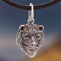 Silver pendant necklace, 'Spectacled Bear' - Silver Spectacled Bear Pendant Necklace from Peru