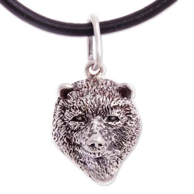 Silver Spectacled Bear Pendant Necklace from Peru