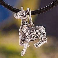 Silver pendant necklace, 'Cute Llama' - Silver Llama Pendant Necklace Crafted in Peru